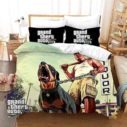 695 Duvet Cover Sets 3D Gtv Printing Child Adult Bedding Set 100% Polyester Gift Duvet Cover 3 Pieces With 2 Pillowcases K-AU Single53*79'(140x210cm)