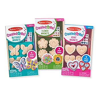 Melissa & Doug Paint & Decorate Your Own Wooden Magnets Craft Kit – Butterflies Hearts Flowers