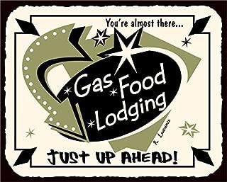 Vintage Metal Art Gas Food Lodging Automotive Retro Tin Sign