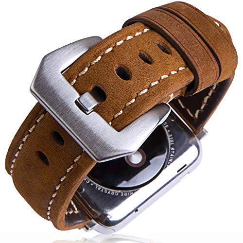 SwizzClub Compatible Apple Watch Band Leather 42mm 44mm - Iwatch Band 44mm 42mm Series 4/3/2 - for Apple Watch Band Strap - Iwatch Strap - Apple Watch Band Brown Leather - Iwatch Bands for Women Men