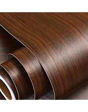 Wolpin Wall Stickers Wood Wallpaper (60 x 300 cm) DIY PVC Shelf Liner, Furniture, Almirah, Table Top, Wardrobe, Kitchen Cupboard Decal, Mahogany Brown
