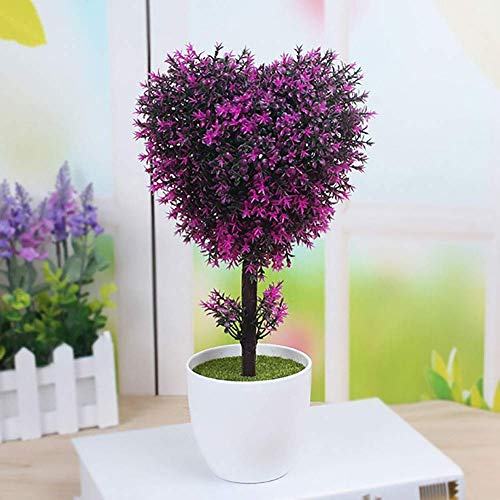 XHCP Mini Artificial Bonsai Flowers, Cute Indoor Green Plant Emulate Bonsai, Small Bonsai Plastic Potted Simulation Plant Decor, Suitable for Home Office Hotel (Color : Fuchsia, Type