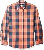 Amazon Essentials Men's Regular-Fit Long-Sleeve Casual Poplin Shirt, Blue/Orange Buffalo, Small
