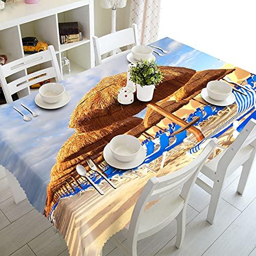 XXDD Textiles para el hogar Mantel 3D Beach Resort Paisaje Patrón Rectangular Cubierta de Mesa Mantel de Boda A1 140x180cm