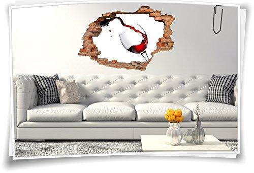 Medianlux 3D muurdoorbraak muurschildering muursticker sticker wijn rode wijn glas wijnglas