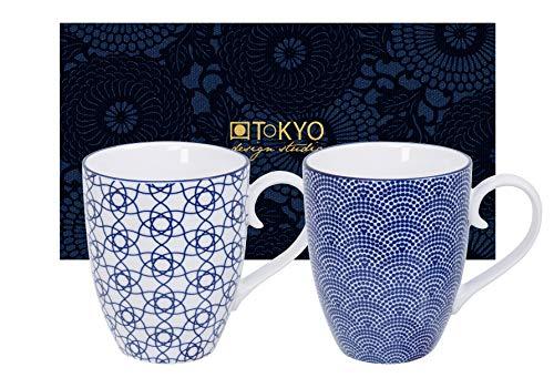 TOKYO design studio Nippon Blue, 2 Tassen Set in dekorativer Geschenkbox, Porzellan Geschirr, 380ml