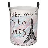 Delerain - Cesto portabiancheria a forma di torre Eiffel, impermeabile, con manici, pieghevole, per riporre i giocattoli, per casa, bagno, ufficio, cameretta, 16,5 x 13,8 cm