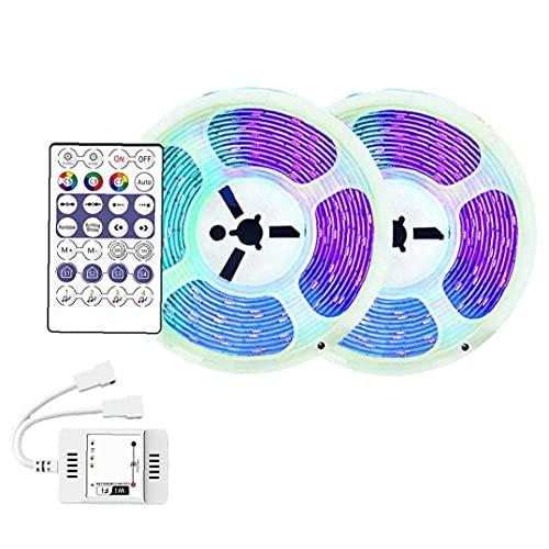 Luces de tiras LED, luces de cinta LED luces LED de WiFi Luz inteligente Cadena de cadena Cambio de color Lámpara de control remoto para hogar, TV, Fiesta Tapón de la UE 2 * 5m para interiores
