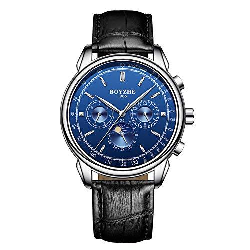 luckyco Herrenuhr Herren Uhr MäNner Uhren Herrenarmbanduhr Herren Mechanische Uhr Automatikwerk StrapazierfäHiges Lederarmband Business-Uhrenmarke