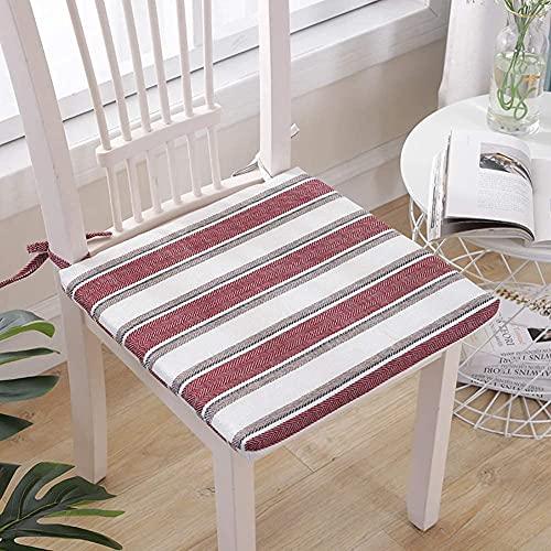 erddcbb Cojines para sillas de Comedor a Rayas, Almohadillas cuadradas Simples para Asientos de algodón y Lino Four Seasons Cojines para sillas para Interiores y Exteriores, Rojo, 45 x 45 cm (18 x 1