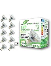 greenandco® CRI 90+ dimbare LED-spot GU10 230V, flikkervrij