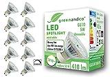 10x Spot LED regulable greenandco® IRC 90+ GU10 5W (corresponde a 50W) 410lm 3000K (blanco cálido) SMD LED 110° 230V AC, sin parpadeo