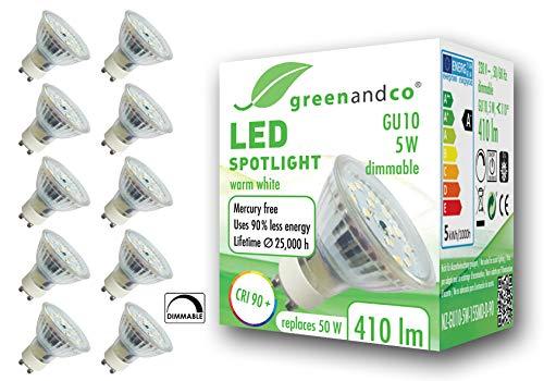 10x greenandco® CRI 90+ LED Spot dimmbar ersetzt 50W GU10 5W 410lm 3000K warmweiß 110° 230V, flimmerfrei, 2 Jahre Garantie