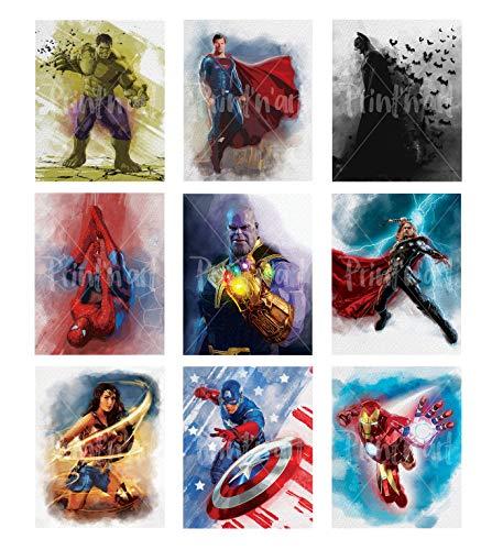 Print'N'Art, Superheroes Watercolor Prints - 8x10 Inches Unframed Set of 9, Hulk, Superman, Batman, Spiderman, Thanos, Thor, Wonderwoman, Captain America, Ironman, Superhero Bedroom Decor For Boys