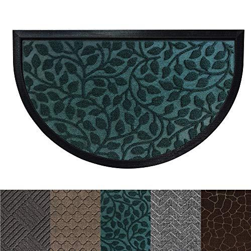 Gorilla Grip Original Durable Rubber Door Mat, Heavy Duty Doormat for Indoor Outdoor, 35x23 Half Circle, Waterproof, Easy Clean, Low-Profile Mats for Winter Snow, High Traffic Areas, Green Vine Leaves