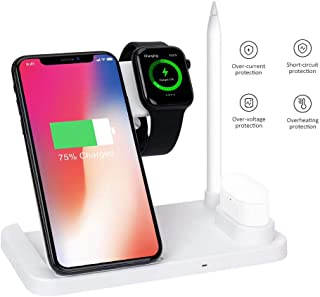 Multi-Function Wireless Charging Station 4 in 1 10W Fast Qi Charging for iPhone Xs/X Max/XR/X/8/8Plus AirPods/Apple Watch/Apple Pencil (White)
