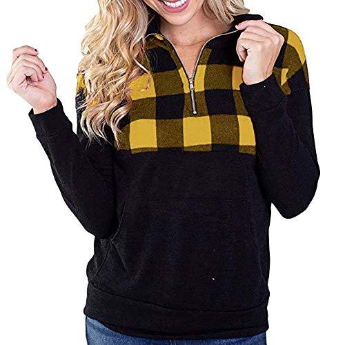 Yvelands Solde Femme l'hiver Treillis Fermeture éClair Top ÉCharpe Chemise Chemisette Chemisier Blouse Sweat-Shirt Sweater Maillot Sweater Tricot Chandail Pull (Jaune,Large )