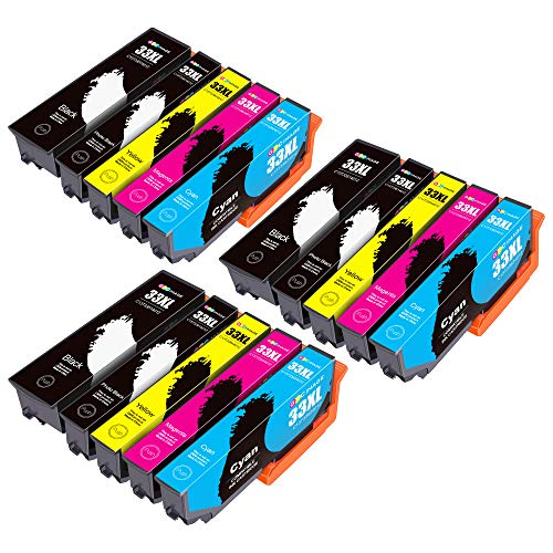GPC Image 33XL Cartucho de Tinta Compatible para Epson 33XL 33 XL para Epson Expression Premium XP-540 XP-530 XP-830 XP-7100 XP-900 XP-640 XP-630 XP-635 XP-645 (15 Pack)