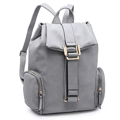 Women Fashion Backpack Purse PU Leather Rucksack Casual Travel School Backpack with Drawstring Snap Closure (2443-l.grey)