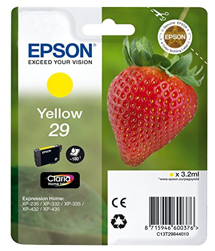 Epson Original 29 Tinte Erdbeere, XP-235 XP-332 XP-335 XP-432 XP-435 XP-245 XP-342 XP-345 XP-442 XP-445 XP-247 XP-257 XP-255 XP-352 XP-355 XP-452 XP-455, (gelb)
