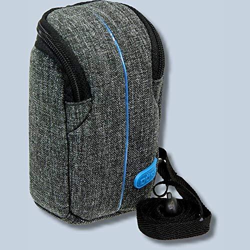 Dörr Kameratasche City Pro S Fototasche grau/blau Tasche für kompakte Digitalkameras z.B. Panasonic Lumix DC-TZ202 TZ91 TZ81 Sony DSC-RX100 VI V IV III