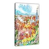 Póster vintage de Barcelona España urbana ciudad de Barcelona Skyline Adventure Travel Paris IV en lienzo para pared de 40 x 60 cm