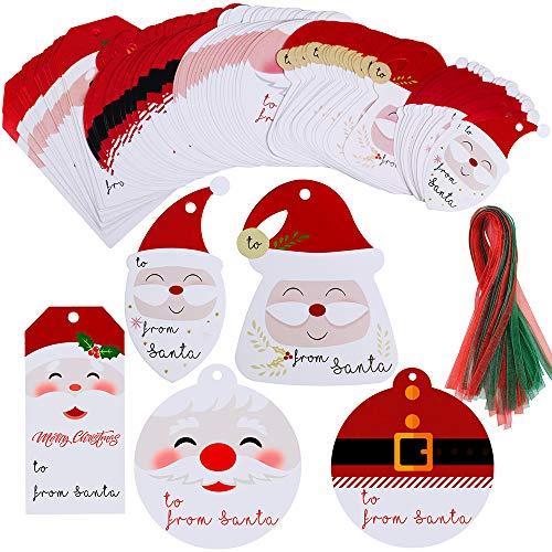 90 Sets from Santa Tags Label with Ribbon Present Tags Christmas Cute Santa Cut Outs Party Favors Tags Treat Tags Santa Tag Holiday Tags Season Tags