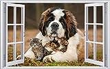 Bernhardiner Hund mit Babykatzen Wandtattoo Wandsticker Wandaufkleber F0812 Größe 40 cm x 60 cm