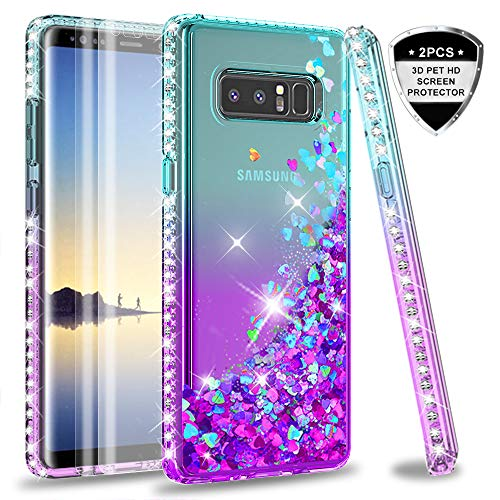 Galaxy Note 8 case with 3D PET Screen Protector [2 Pack] for Girls Women, LeYi Glitter Bling Sparkle Liquid Quicksand Flowing Clear Phone Case for Samsung Galaxy Note 8 ZX Teal/Purple