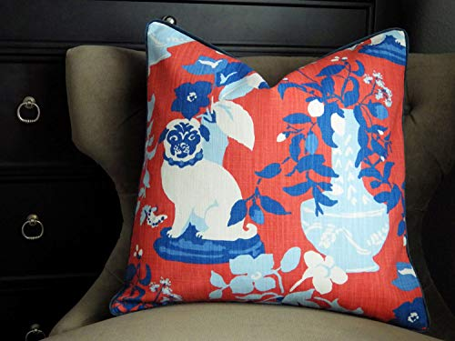 Toll2452 Blue and White Porcelain Pillow Madcap Cottage Manor Born Cherry Pillow Cover Chinoiserie Pillow covers Red Pillow Pug Pillow