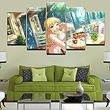 ZGZART Modular Wall Art Prints 5 Set Poster The Idolmster Cinderella Girl Starlight Anime Pintura Imagen Decoración para el hogar Lienzo 30x50 30x70 30x80cm Sin Marco
