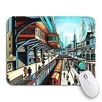 ECOMAOMI 可愛いマウスパッド ノートパソコン、マウスマット用のレトロ未来派サスペンション鉄道ノンスリップラバーバッキングマウスパッドのシティストリート