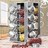 Provance Modernes drehbares Edelstahl Gewürzregal mit 16 Echtglas Gewürzgläsern 17 teilig, spülmaschinengeeignet