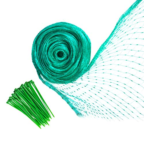 YHmall Bird Netting 13 x 33 Feet, Green Plant Garden Netting Reusable Heavy Duty, Fruit Tree Netting with 50 Pcs Cable Ties Protect Fruit Trees Blueberries Plants and Vegetables from Birds and Animals