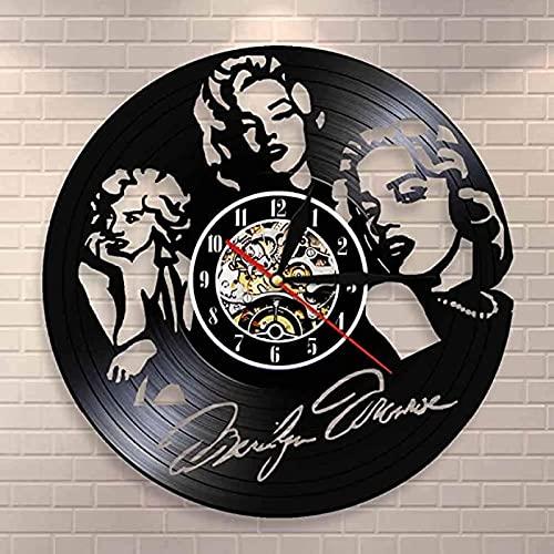 SHILLPS Retro Vintage Disco de Vinilo Reloj de Pared Modelo de Actriz Cantante Símbolos sexuales Icono Arte de la Pared Reloj de Pared Decorativo Moderno Regalo Vintage con LED