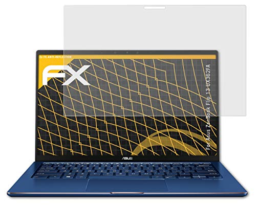 atFolix Panzerfolie kompatibel mit Asus ZenBook Flip 13 UX362FA Schutzfolie, entspiegelnde & stoßdämpfende FX Folie (2X)