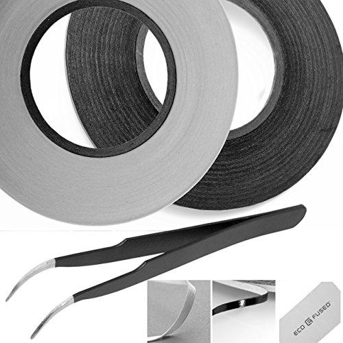 Aufkleber Klebeband für zur Verwendung in bei Handy (2 Rollen - 2mm Breite (Schwarz und Weiß))