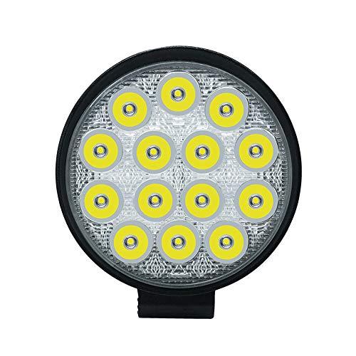 Barra de luz de trabajo LED de 42 W para camiones todoterreno, ATV, UTV, SUV, luz redonda blanca