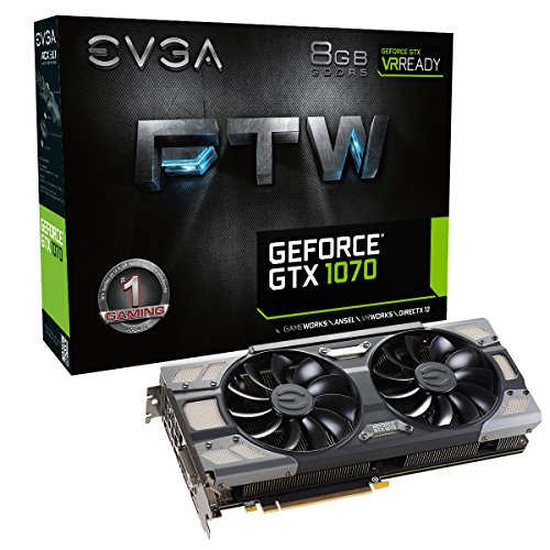 EVGA GeForce GTX 1070 FTW Gaming ACX 3.0, 8GB GDDR5, RGB LED, 10CM FAN, 10 Power Phases, Double BIOS, DX12 OSD Support (PXOC) Grafikkarte 08G-P4-6276-KR