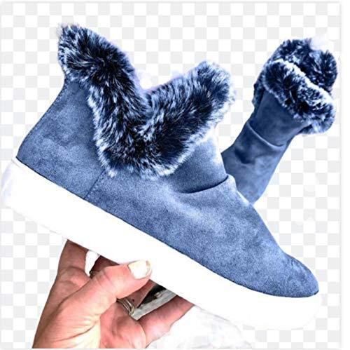 Botas de Invierno para Mujer Botas de Nieve Botas de Plataforma Botines cálidos Botines Planos de Mujer con Forro de Piel de Felpa Botas Cortas,Azul,42 EU