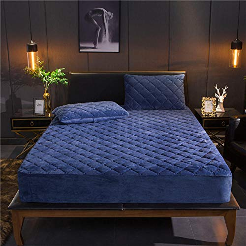GaoTianyou Crystal Velvet Thicken Quilted Mattress Cover Warm Soft Plush Queen King Quilted Bed Fitted Sheet Not Including Pillowcase-_blue_180cm*220cm+15cm(1pcs)