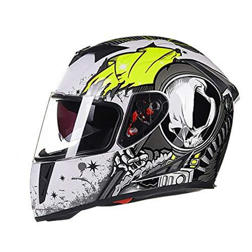 SDKUing Integral Motorradhelm, Mopedhelm Anti Nebel Full-Face Helme,Doppel Visier Mopedhelm Scooter-Helm Motocrosshelme Damen Und Herren,Herausnehmbares Futter,ECE Genehm