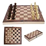 Hoomall 3en1 Jeux d'echec Chess Echequiers Jeu d'échecs et de Jeu de Dames Plateau(Couleur Unique,29*29cm)