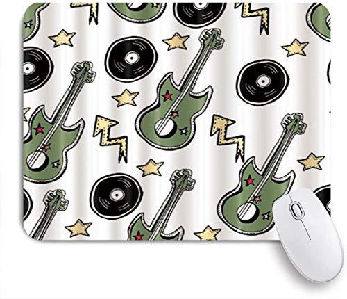 MUYIXUAN Mauspad - Musik Hand gezeichnete Gitarren und Stars and Arrows Rock und Grunge Pattern - Gaming und Office rutschfeste Gummibasis Mauspads,240×200×3mm