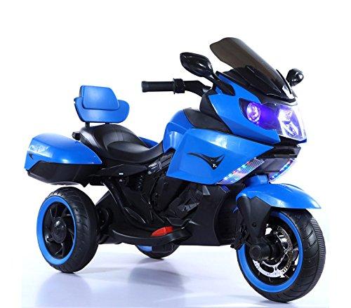 Mediawave Store Moto Sidney elettrica B37500 per Bambini con luci e Suoni 12V bauletti Laterali (Blu)