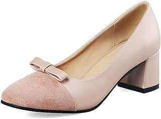 BalaMasa Womens Studded Bows Dress Urethane Pumps Shoes APL10538