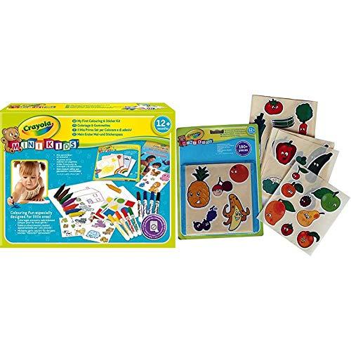 Crayola Mini Kids - Mon Premier Coffret de coloriage et de gommettes - Coloriage 256287.006 Gommettes Fruits et légumes - Coloriage pour Enfant et Tout Petit - 256405.024