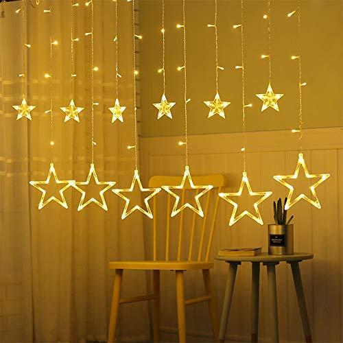 Stergordijnverlichting, 3M Led Fairy String Lights met 12 sterren 138 LED's, Gordijnverlichting, Fairy Lights voor Kerst/Bruiloft/Feest/Huis/Tuindecoratie