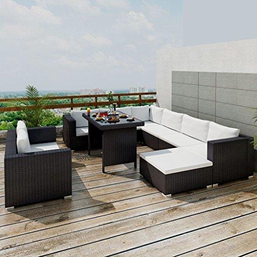 SENLUOWX Ensemble de meubles de jardin 28 pièces Noir poli rotin