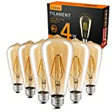LED Edison Bulbs Dimmable Amber Warm 2700K Antique Vintage Style Filament Light Bulbs 40W Equivalent E26 Base 6-Pack by LUXON